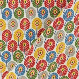 Tissu coton cretonne Plume de paon - Multi Circus x 10cm