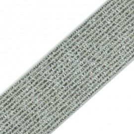 35 mm Elsa Lurex Elastic Ribbon - Silver x 50cm