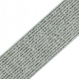 Ruban Élastique Lurex Elsa 35 mm - Argent x 50cm