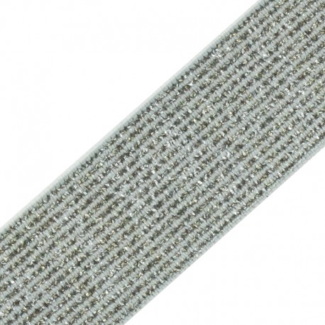 35 mm Elsa Lurex Elastic Ribbon - Silver x 50cm