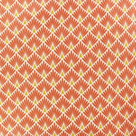 Cretonne cotton Fabric Ecailles dorées - orange x 10cm