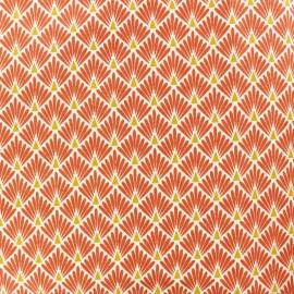 Tissu coton cretonne Ecailles dorées - Terracotta x 10cm