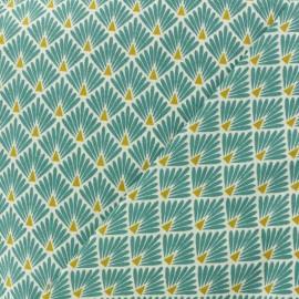 Tissu coton cretonne Ecailles dorées - turquoise x 10cm