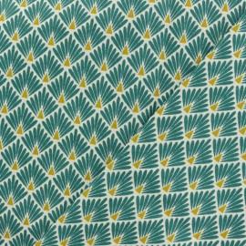 Tissu coton cretonne Ecailles dorées - vert canard x 10cm