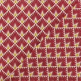 Cretonne cotton Fabric Ecailles dorées - burgundy red x 10cm