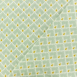 Tissu coton cretonne Ecailles dorées - lagon x 10cm