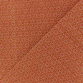 Cretonne cotton fabric - Terracotta saki x 10 cm