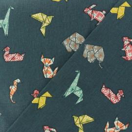 Tissu coton cretonne Cocotte en papier - bleu pétrole x 10cm