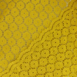 Scalloped Lace Fabric - yellow Mélanie x 10cm