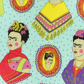 Alexander Henry cotton fabric - turquoise blue Frida x 45cm