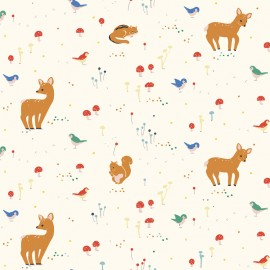Birch Organic fabric Whistle - Cream Sunny forest x 10cm