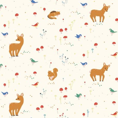 Tissu coton Birch organic fabric Whistle - Sunny Forest - jaune pâle x 10cm