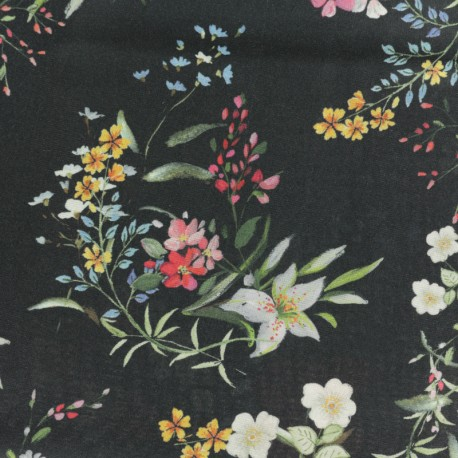 Viscose Fabric - black Kimono x 10cm