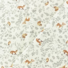 Twill Viscose Fabric - black Wildlife x 10cm