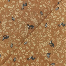 Twill Viscose Fabric - camel brown Wildlife x 10cm