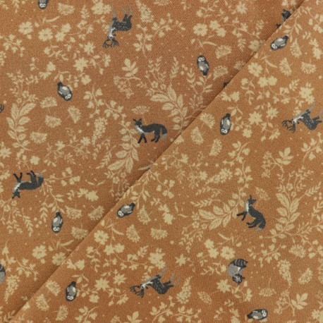 Twill Viscose Fabric - camel brown Wildlife x 10cm