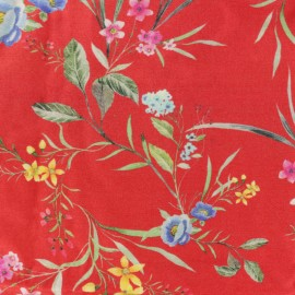 Twill Viscose Fabric - red May x 10cm