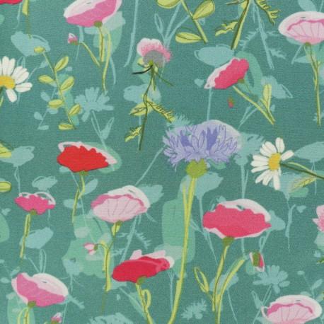 Twill Viscose Fabric - green June x 10cm