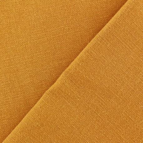 Tissu toile de coton uni Demi Natté Vintage - jaune moutarde x 10cm