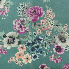 Tissu Twill Viscose Floraison - bleu canard x 10cm