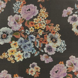 Twill Viscose Fabric - Brown Floraison x 10cm