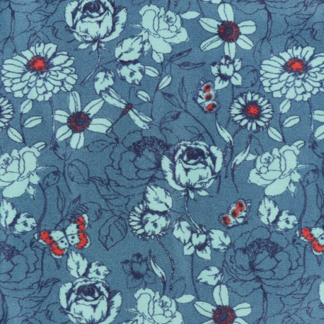 Tissu Twill Viscose été indien - bleu paon x 10cm