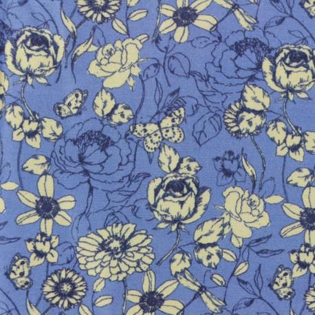 Twill Viscose Fabric - blue Indian summer x 10cm