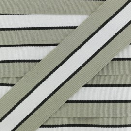 35 mm Striped Grosgrain Ribbon - Grey Sporty x 1m