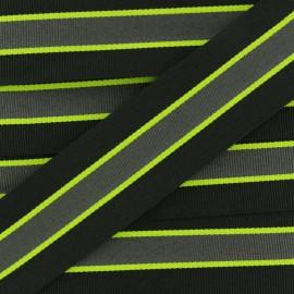 Ruban Gros Grain Rayé Sporty 35 mm - Noir x 1m