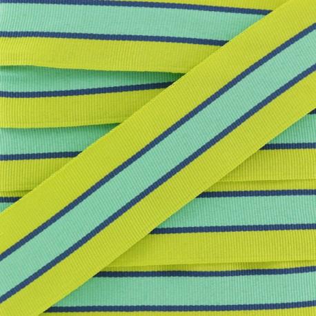 35 mm Striped Grosgrain Ribbon - Anise Green Sporty x 1m