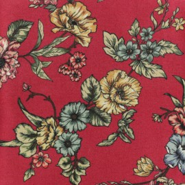 Twill Viscose Fabric - burgundy Délicat Printemps x 10cm