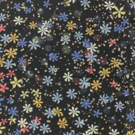 ♥ Coupon 20 cm X 150 cm ♥ Twill Viscose Fabric - Black Flower Constellation