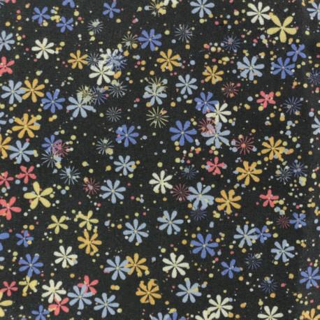 Twill Viscose Fabric - Black Flower Constellation x 10cm