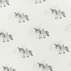 Tissu coton popeline Unicorn - blanc x 10cm