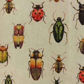 Tissu polycoton - insectes - naturel x 25cm