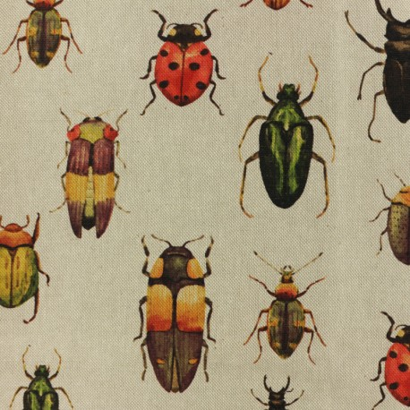 Polycotton fabric - Insects - natural x 10cm