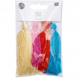 Set de 4 Pompons Longs - Arc-en-Ciel