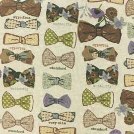 Tissu polycoton - Noeud Papillon - naturel x 25cm
