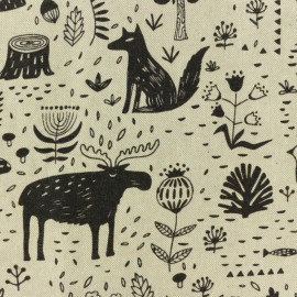 Polycotton fabric - Canadian forest - natural/black x 10cm