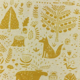 Polycotton fabric - Canadian forest - natural/mustard x 10cm