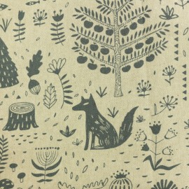 Polycotton fabric - Canadian forest - natural/blue x 10cm