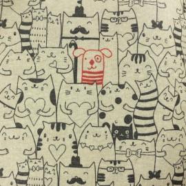 Polycotton fabric - Charlie & cats - natural/black x 10cm