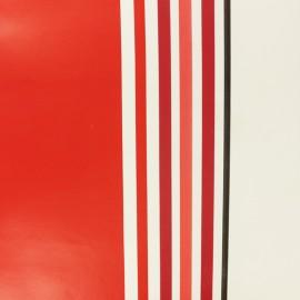 Tissu toile cirée rayé Oléron - rouge x 10cm