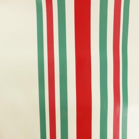 Striped Oilcloth fabric - Red/Green Bidart x 10cm