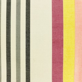 Striped Oilcloth fabric - red Oléron x 10cm