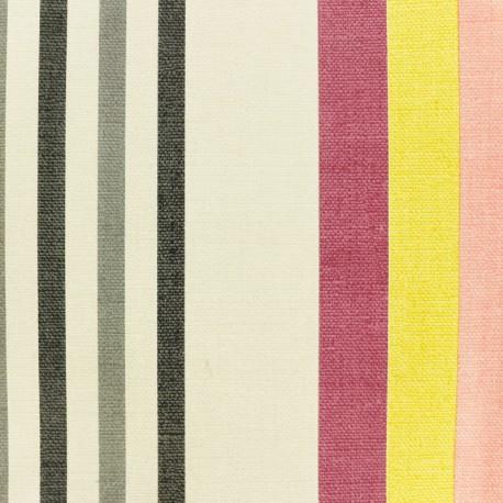 Tissu toile cirée à rayures Oléron - rouge x 10cm