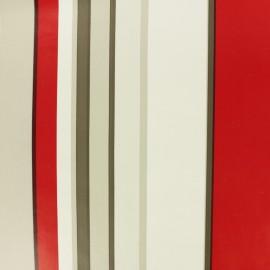 Tissu toile cirée à rayures Lacanau - rouge x 10cm