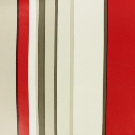 Striped Oilcloth fabric - red Lacanau x 10cm