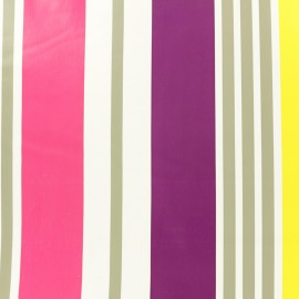 ♥ Coupon 150 cm X 140 cm ♥ Tissu toile cirée à rayures Arcachon - rose/jaune