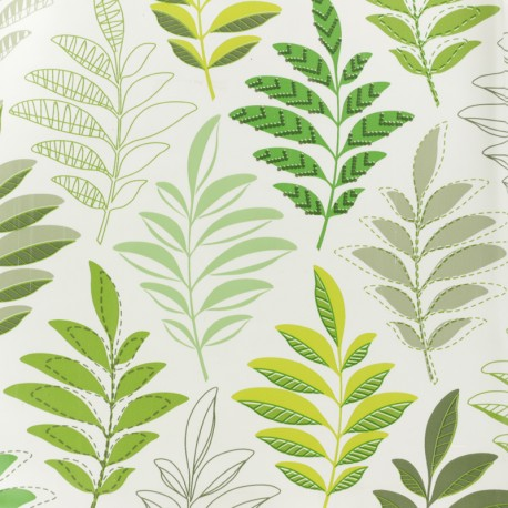 Oilcloth fabric - Green Leaves x 10cm